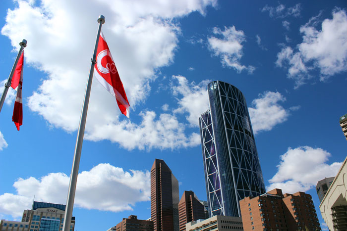 Calgary: Skyline am Olympic Plaza